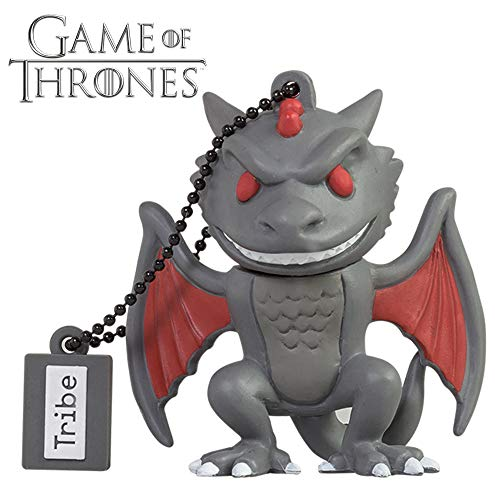 Tribe Game of Thrones (Juego de Tronos) Drogon - Memoria USB 2.0 de 16 GB Pendrive Flash Drive de Goma con Llavero, Color Gris