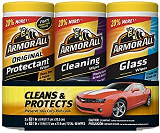 Armor All – 18782 Protectant, Glass and Cleaning Wipes, 30 Count Each (Pack of 3)