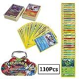 110Pcs Jeu de Cartes Pokemon Cartes, Carte de Pokemon Amusant pour Enfants,...