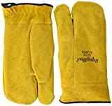 RefrigiWear Sherpa Lined Three Finger Split Cowhide Leather Mitten Gloves (Gold, X-Large)