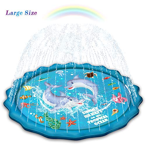 Abida Splash Pad, 70'' Outside Sprinkler Play Mat for Kids, Extra Large Party Infant Wading Pool Fun Summer Outdoor Water Toys for 2-12 Years Old Baby and Toddler Girls and Boys