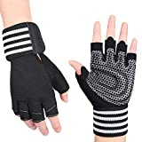 OZERO Workout Gloves Half-Fingers for Men Hand Protective Equipment for Gym Exercise and Body Training Black M