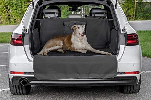 LEO Protect Kofferraumschutz-Matte für Hund   universell für alle Fahrzeuge (SUV, Kombi etc)  Kofferraumschutz-Decke mit Ladekanten- und Seitenschutz, Taschen   Maße 183 x 103 x 34 cm, schwarz