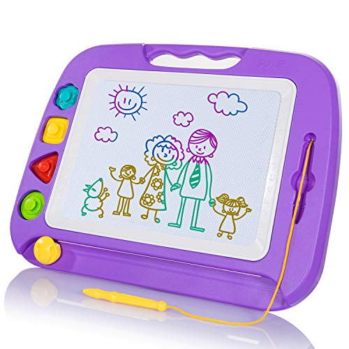 SGILE Magnetic Drawing Board Toy for Kids, Large Doodle Board Writing Painting Sketch Pad, Purple