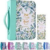 """Bible Cover Case for Women with a Matched Bookmark Floral PU Leather Bible Cover Bag with Pockets and Zipper for Standard and Large Size Study Bible 10.8""""x7.8""""x2"""""""
