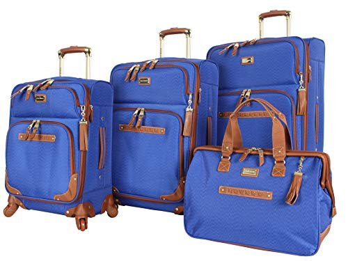 Steve Madden Designer Luggage Collection - 4 Piece Softside Expandable Lightweight Spinner Suitcase Set - Travel Set includes a Tote Bag, 20-Inch Carry on, 24 & 28 Inch Checked Suitcases (Blue)