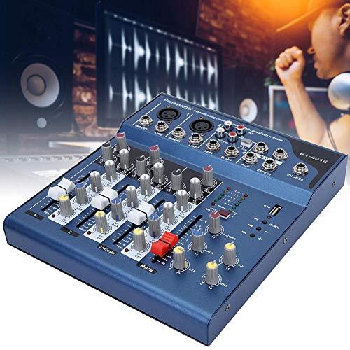 Pbzydu Mixer Audio Professionale Console per Scheda Audio, Mixer Stereo per palcoscenico DJ Stereo a 4 canali, Display a Doppio LED, Lettori MP3, A Basso Rumore, Modul