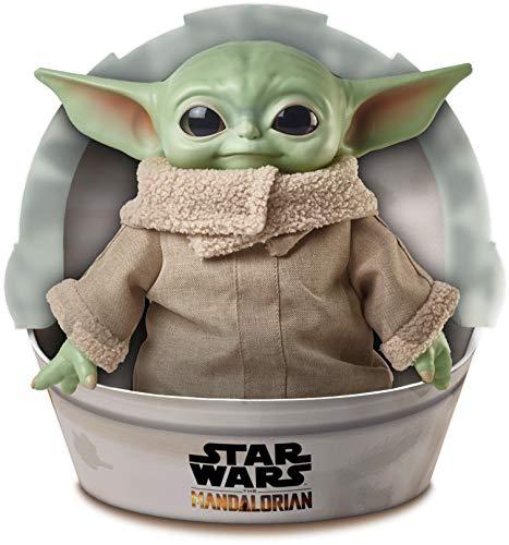 Star Wars Baby Yoda El niño de la serie The Mandalorian, figura peluche de 28 cm, color verde,...