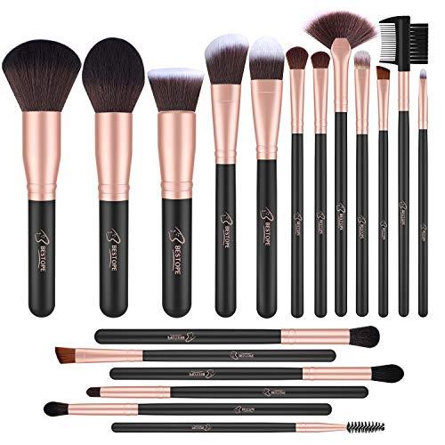 BESTOPE Lot de 18 pinceaux de maquillage professionnels synthétiques de qualité supérieure pour fond de teint, poudre, blush, anti-cernes
