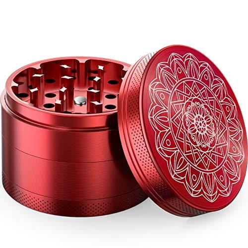 iRainy Molinillo de Hierbas de Aluminio (4 Unidades) Portátil Grinder con Atrapador, Regalo Ideal para Hombres Mujeres (Rojo)