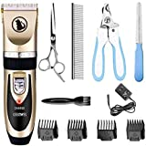 【ALL-IN -ONE】This dog grooming clippers also come with 10 tools: 1 × Pet clipper( included Battery),1 × AC Power Adapter,1 × Cleaning Brush,4 × Comb Attachments(3-6-9-12mm),1 × Stainless Steel Scissor,1 × Stainless Steel Comb,1 × Nail Clipper Kit,1 ×...