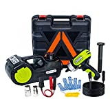Car Jack Hydraulic 5 Ton 12V Electric Car Jack Kit (Lifting Range: 6.1-20.86 inch) with Impact Wrench & Inflator for Car SUV Sedan MPV with LCD&Tire Pressure Display
