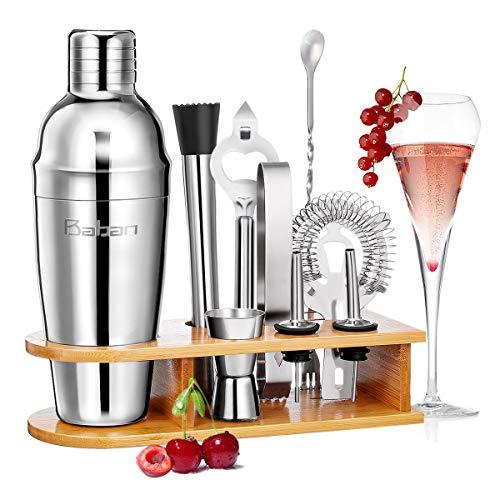 Baban set cocktail 10 pezzi,kit barman,Shaker per Cocktail 750ML set cocktail professionale,Compreso...