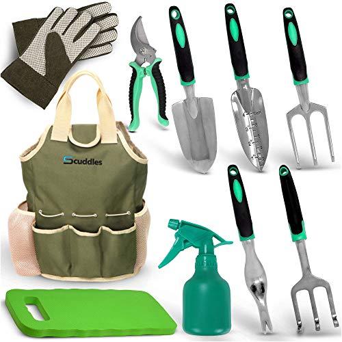 Scuddles Garden Tools Set - 7 Piece Heavy Duty Gardening...