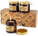 TOFU Ensemble Cadeau de Bougie Parfumées, Cire de Soja Naturelle Fait à la Main, Cadeau de Femmes et d'hommes, Parfums pour Le Soulagement du Stress et l'aromathérapie - Pot d'ambre Apothicaire