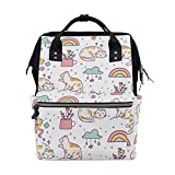 Bolsa de pañales Mochila Gatos Estrella Blanca Bolsa de bebé de dibujos animados Mochila escolar Bolsa de mamá Bolsa de viaje multifunción grande