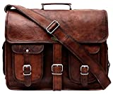 Handmade World Leather Messenger Bag 16 Inch Brown Air cabin Briefcase Leather Cross body Shoulder Large Laptop School bag (12' X 16')