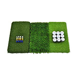 PRACTICE FROM HOME: Save your lawn and your wallet with our hitting mat! This product includes (1) Rukket 25in x 16in Tri-Turf Golf Hitting Mat Attack, (9) Rukket Practice Balls, and (12) plastic tees of varying heights. TRAIN FROM EVERY LIE: Even th...