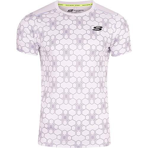 Skechers Men's Sports Running T Shirt Gym Activewear Short Sleeved Breathable Mesh Back Panel XL White
