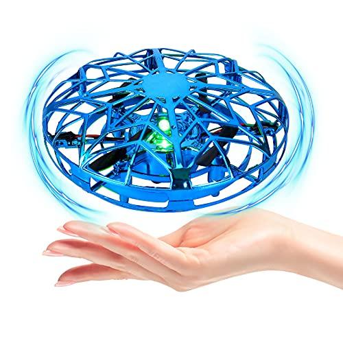 Mini UFO Drone per Bambini e Adulti,UFO Mini Drone,Mini UFO Drone Giocattolo,Mini Quadricottero Motion Hand Controllato Drone,Rotazione di 360 Giocattoli Mano Controllato Interattiva (Blu)