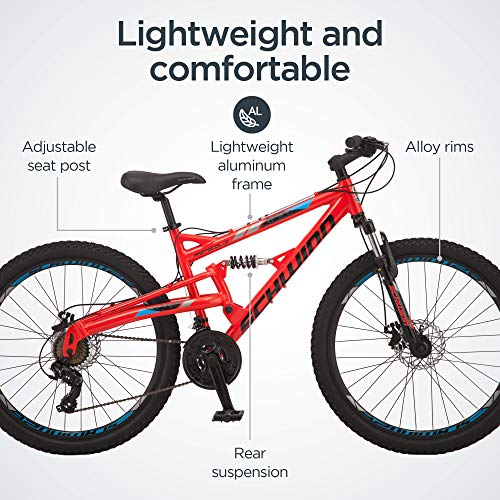 Product Image 2: Schwinn Protocol 1.0 Mens and Womesn Mountain Bike, 26-Inch Wheels, 24-Speed Drivetrain, Lightweight Aluminum Frame, Full Suspension, Red/Blue