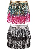 2 Pieces Sequin Tassel Skirt Belly Dance Hip Scarf Performance Outfit Sequins Skirt Belts Body Accessories for Women Girls (Gold Blue Rose Pink&Sliver Black)
