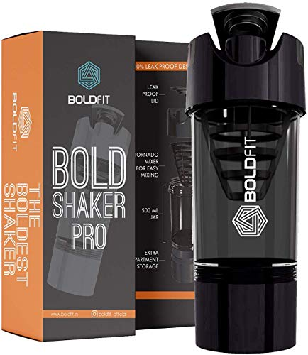 Boldfit Gym Shaker Pro Cyclone Shaker 500ml with Extra Compartment, 100% Leakproof Guarantee, Ideal for Protein, Preworkout and BCAAs, BPA Free Material … (Black)