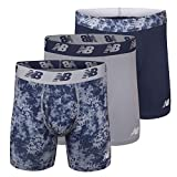 New Balance Men's 6' Boxer Brief Fly Front with Pouch, 3-Pack,Print/Steel/Pigment, Large (36'-38')