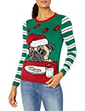 Ugly Christmas Sweater Company Women's Light-Up Pullover Xmas Sweaters Multi-Colored LED Flashing Lights Juniors, Emerald Light Up - Pug W/Cookies and Milk, M