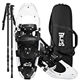 ALPS 21 Inch Snow White Shoes for Boys Women Men with Pair Antishock Snowshoes Poles, Free Carrying Tote Bag