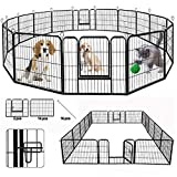 SUNCOO Dog Pen, Heavy Duty Folding Large Metal Dog Fence, Cat Puppy Pet Exercise Playpen, Indoor...