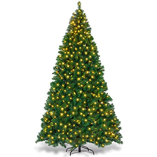 Goplus 9ft Artificial Christmas Tree Premium Spruce Hinged Tree with 700 LED Lights and Solid Metal Stand, UL-Certified Transformer