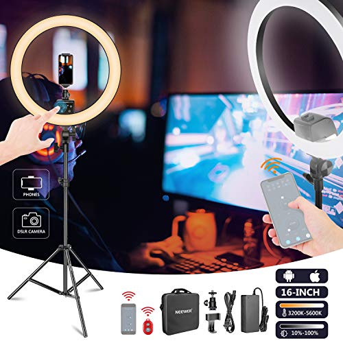 Neewer APP Control 16-inch LED Ring Light, Support Manual Touch Control with LCD Screen, Multiple Lights Control, 3200-5600K, Light Stand Included for Makeup YouTube Video Blogger Salon (Black)