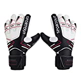 Youth&Adult Goalie Goalkeeper Gloves,Strong Grip for The Toughest Saves, with Finger Spines to Give Splendid Protection to Prevent Injuries,3 Colors (Black, 6)