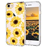iPhone 7 Case, iPhone 8 Case, iPhone 7 Case for Women, MOSNOVO Floral Flower Sunflower Clear Design Plastic Back Case with TPU Bumper Protective Case Cover for iPhone 7 / iPhone 8