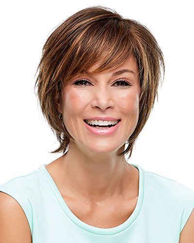 Diane Wig Color 6 FUDGESICLE - Jon Renau Wigs Synthetic Short Sassy Shag Monofilament Top Hand-Tied Cap Lace Front Hairline 1