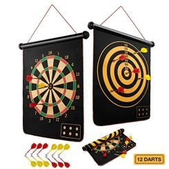 BATURU Magnetic Dart Board for Kids, Boy Toys Dart Board Games for Kids Ages 4-8 Birthday Gifts, Indoor Outdoor Dart Games with 12pcs Magnetic Darts (Traditional)