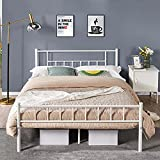 Topeakmart Queen Bed Frame,Metal White Bed Frame Platform with Headboard and Footboard,Mattress Foundation with Under Bed Storage,Strong Slat Support