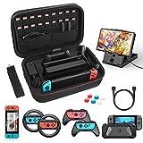 HeysTop Kit de Accesorios 12 en 1 para Nintendo Switch, con Funda de Transporte, TPU Cubierta Protectora, Joy-Con Grip y Volante , Soporte,Protector de Pantalla, Apretones de Pulgar, Cable USB
