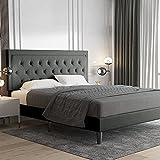 Allewie King Size Platform Bed Frame/Fabric Upholstered Bed Frame with Diamond Button Tufted Headboard/Adjustable Headboard/Wood Slat Support/Mattress Foundation/Dark Grey (King)