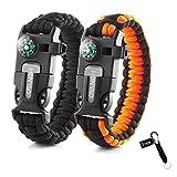 HONYAO Bracelets de Survie, Kits de Paracorde de Survie avec Boussole, Sifflet, Grattoir et Silex,...