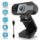 TedGem Webcam 1080p PC Webcam avec Microphone Webcam Webcam Webcam USB Streaming Webcam pour appels vidéo et Enregistrement, Petit/Flexible/réglable, Compatible Windows, Android, Linux