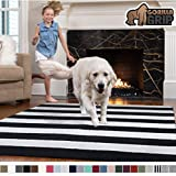 Gorilla Grip Original Faux-Chinchilla Rug, 3x5 Feet, Super Soft and Cozy High Pile Washable Carpet, Modern Floor Rugs, Luxury Shag Carpets for Bed, Living Room, Stripe: Black and White