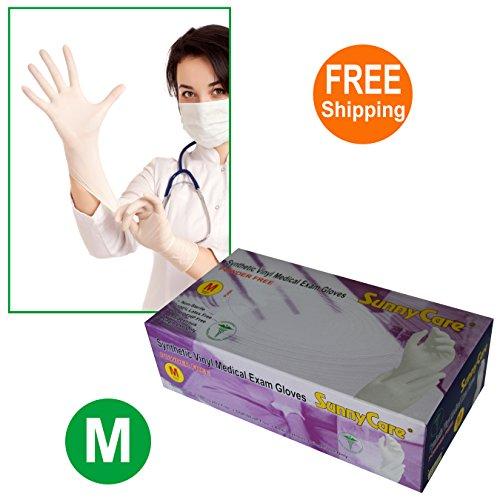 SunnyCare #7702-1BOX White Synthetic Vinyl Medical Exam Gloves Powder Free Size: Medium 100pcs/box