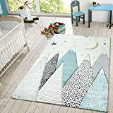 Paco Home Kids Rug for Childrens Room Mountains Starry-Sky in Light Blue Gray White, Size:5'3' x 7'7'