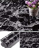 Yancorp Black Granite Wallpaper Marble Counter Top Film Vinyl Self Adhesive Peel-Stick Wallpaper (17.8'x78.7')