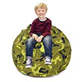 LUCKYBOY Kids Stuffed Animal Bean Bag Chairs Camo, CALA Life Extra Large Beanbag Chair Bean Bag Cover - 100+ Plush Toys Holder and Organizer for Kids Room -100% Cotton Canvas Cover - Camo Green