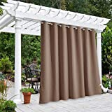 NICETOWN Outdoor Curtain Panel for Patio Waterproof, Rustproof Grommet Top Thermal Insulated Blackout Extra Wide Door Blind for Gazebo/Front Porch, Tan, 1-Pack, 100 Inch Wide by 108 Inch Long