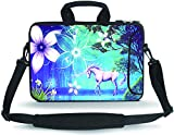 HYUTOTA 14 15 15.4 15.6 inch Messenger Bag Carrying Case Sleeve with Handle Accessory Pocket Fits 14 to 15-Inch Laptops/Notebook/Ebooks/Kids Tablet/Pad(Cute Unicorn)