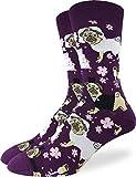 Good Luck Sock Men's Wedding Pugs Socks - Purple, Adult Shoe Size 7-12